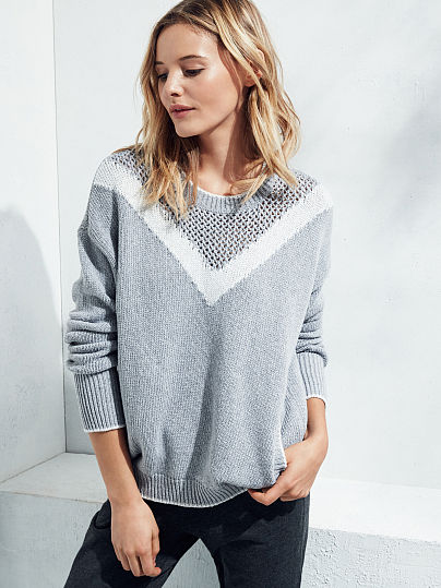 Mixed-stitch Colorblock Sweater